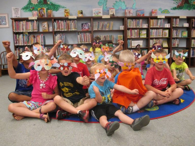 happy kids at the library
